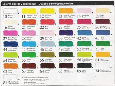 Arte san juan - Gama de colores de pinturas ...